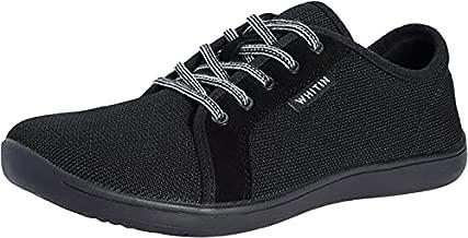 WHITIN Men's Knit Barefoot Sneakers Wide fit Arch Support Zero Drop Sole Size 12 Minimus Casual Minimalist Tennis Shoes Fashion Walking Flat Lightweight Skateboarding Male All Black 45