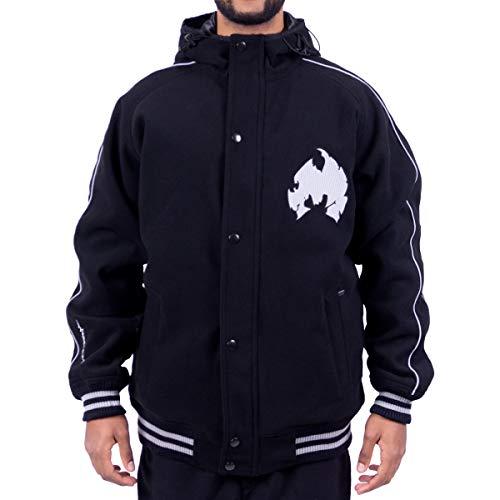 WU Wear Method Man Melton Jacket, Veste d'Hiver, Urban Streetwear Veste Ville, Hip Hop Blouson, Veste Homme, Noir Taille M, Couleur Black