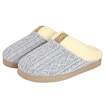 Gumusservi Women s Comfy Slippers with Memory Foam Anti-Skid Hard Sole and Fuzzy Fleece Lining House Shoes for Ladies Indoor Outdoor  Grey Size 6.5-7.5