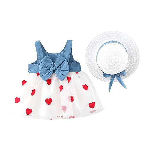 Baby Mädchen Sommer Kleid Floral Sleeveless Schaukel Blumenschleife Prinzessin Sommerkleid mit Stroh Hut A Linien Kleid Mit Bogen Kleinkind Mädchen Kleidung (Weißes Herz, 2-3 Jahre)