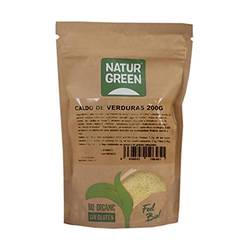 NaturGreen - Caldo Vegetal, Consomé de Verduras en Polvo, Sabor Verduras, Ecológico, Condimento Bio, 100% Vegano - 200 g