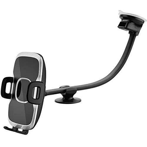 Car Truck Phone Mount Holder with 13-Inch Gooseneck Long Arm, Industrial-Strength Suction Cup Car Holder for All Cell Phones iPhone by 1Zero Windshield Dashboard Window Dash Mobile Mount