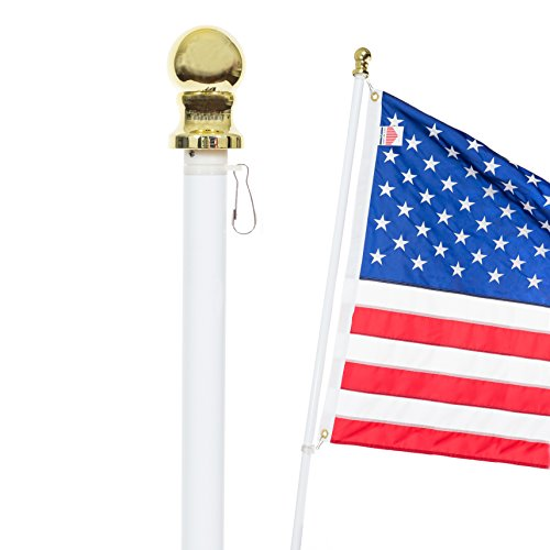 Front Line Flags Flag Pole: 6' Ft White Aluminum Flagpole | Spinning & Tangle Free | Heavy Duty | Wind Resistant and Rust Free Wall Mount Flagpole P/N FL6W