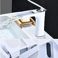 タップ真ちゅう製ホワイト片手バスルームオープンウォーターフォール蛇口冷温水シンクミキサータップ