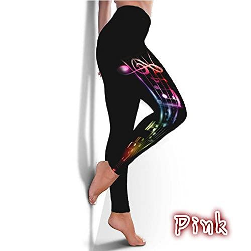 ArcherWlh Leggings Sexy,Modelos explosivos Femenina Sexy Mariposa impresión Notas Musicales Leggings Negro Grande tamaño-Rosa_SG
