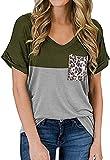Primavera y Verano Camiseta Casual con Bolsillo con Estampado de Leopardo y Cuello en V para Mujer Camiseta Suelta de Manga Corta a Juego con el Color
