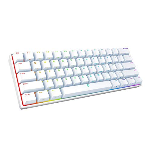 DREVO Seer PRO Mini 61-Key Wired/Wireless Bluetooth 5.1 Mechanical Keyboard, RGB Illumination, Compatible with Windows/Mac OS/Android/iOS Devices, US Layout (Gateron Brown Switch, White)