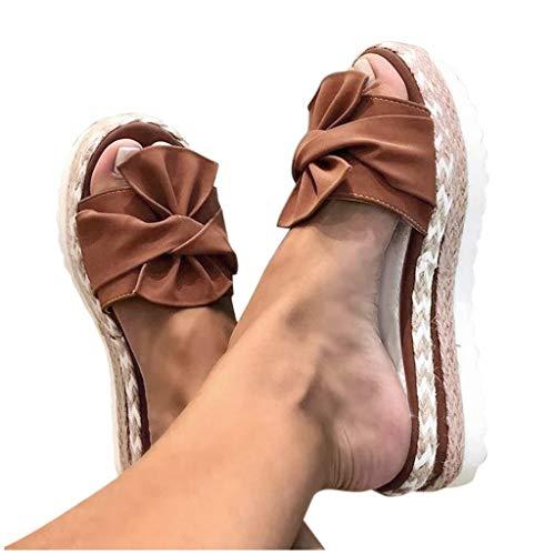 Aniywn Summer Bow Tie Flip Flops Flat Espadrille Platform Wedge Sandals for Women Casual Breathable Open Toe Sandals Brown