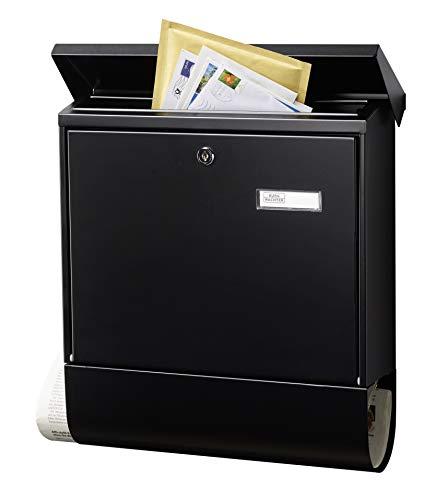 BURG-WÄCHTER Briefkasten mit Zeitungsfach und Namensschild, Verzinkter Stahl, Einwurf-Format DIN C4, Inkl. 2 Schlüssel, AMZ 2500 S, Schwarz