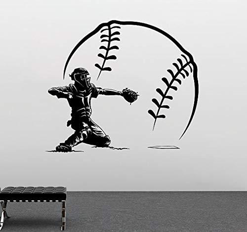 Ajcwhml Baseball-Spieler mit großen Baseball-Shorts Vinylwand c Hause Schlafzimmer Kunst Design Sport Serie Tapete 56x56cm