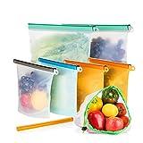 Reusable Silicone Food Storage Bag, Leakproof Food Preservation Bag for Sous Vide, Vegetable, Liquid, Lunch, Fruit, Temperature Resistant & Dishwasher Safe(6 Pack, BONUS 1 Slider & 1 Mesh Bag)