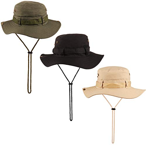 NEWITIN 3 Pack Outdoor Boonie Hat Foldable Wide Brim Fishing Cap Double-Sided Sun Hat for Men and Women, 3 Colors