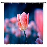 露のかすんだ花の香りがよい花の青と美しいチューリップ浴室の窓の装飾のための生地のホックが付いているポリエステル防水シャワー・カーテン60X72in