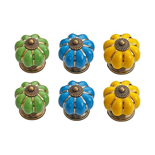 Skyscraper Juego de 6 tiradores de cerámica para gabinete de calabaza, CD-6031-01