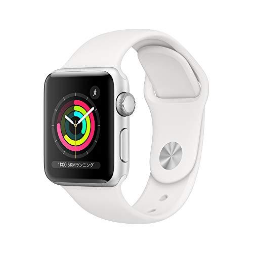 Apple Watch Series 3(GPSモデル)- 38mmシルバーアルミニウムケースとホワイトスポーツバンド