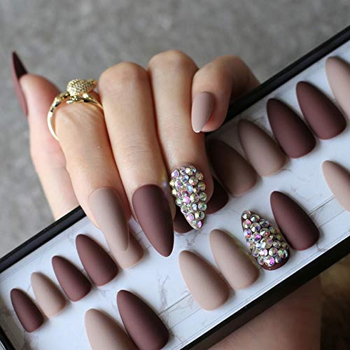 NJIANGHUA Nep Nagels Donkere Koffie Volledige Stiletto Nep Nagels Naakt Volledige Set 28 Stks Medium Diy Teardrop-Shaped Matte Nep Nagels Volledige Nagel Tips Box-Nude