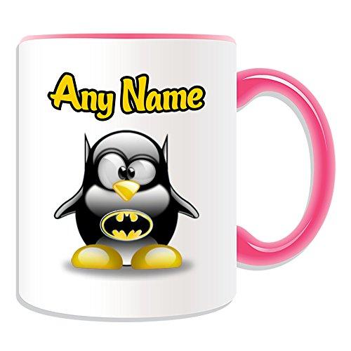 UNIGIFT - Taza personalizable, diseño de personajes de película de pingüino, color a elegir, cualquier nombre/mensaje en su único, superhéroe de la película de vengadores de Batman, cerámica, Rosa