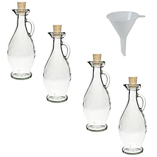 Viva Haushaltswaren - 4 caraffe in vetro con tappo in sughero da riempire autonomamente, forma elegante, capacità 250 ml, imbuto con diametro da 7 cm incluso