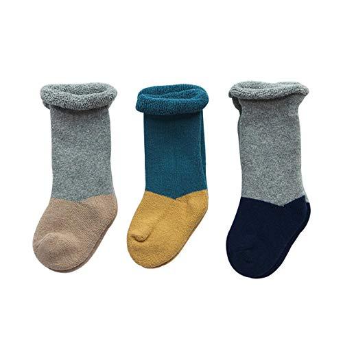 3 Pares de Espesar Calcetines de Algodón para Bebés Infantes Niños Calcetines de Becerro Respirable Encantador Color de Empalme de 1-3 años para Niño Niña Recién Nacido - Amarillo Marrón Azul Marino