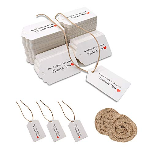 200 Stück weiße Geschenkanhänger aus Kraftpapier für Hochzeitsbevorzugungskarten, DIY-Anhänger, Gepäckanhänger, Preisschild, Hängeetikett mit 40-Meter-Bindfäden