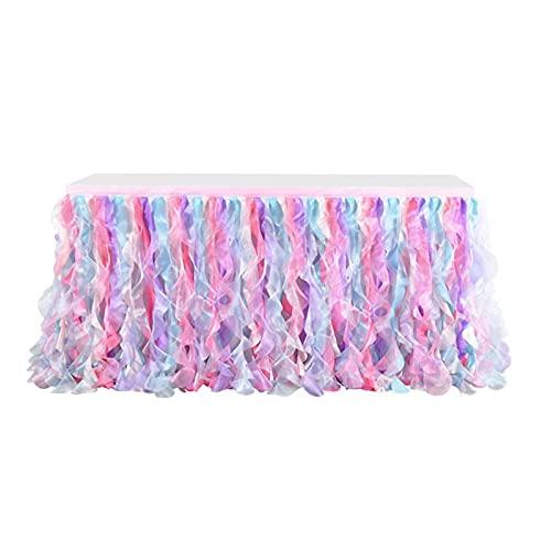 KUYUC Falda de Mesa Tul, Faldones de Mesa, Tabla de tutú para Mesas Rectangulares o Redondas, Manteles Decoración para Bodas Cumpleaños Candelabros Navidad (Color : Pink, Size : 275cm(9ft))