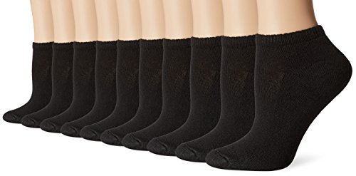 Hanes-Women's Comfort Blend Low-Cut Sock, 10-Pack, Black-Shoe Size: 5-9