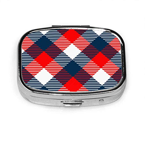 Checkered Gingham Fabric Seamless Pattern Blue Easy Open Pill Box Pill Case for Teens Organizer Case