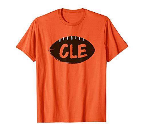 Distressed CLE Football Orange & Brown Cleveland TShirt
