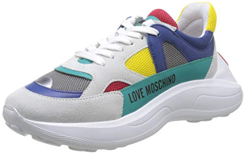 Love Moschino Scarpad.running60 Rete Mix+cro+VIT, Chaussures de Gymnastique Femme, Multicolore (Yellow Mesh 40a), 38 EU