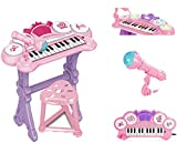 Kids Electronic Keyboard Organ Piano With Lights 24 Keys Drums Microphone & Stool Toy