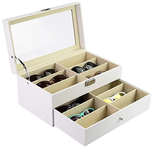 Grinscard Brillenbox zur Aufbewahrung von 12 Brillen - Weiß ca. 34 x 19 x 16 cm - Sonnenbrillen Präsentation Showcase