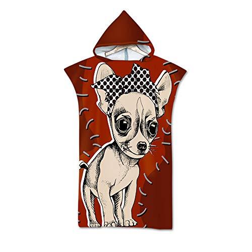 LUOY Strand Poncho Kapuze,Mikrofaser 3D Doppelseitiger Chihuahua Hundedruck Gemütlich Schnelltrocknende Bademantel Mode Beachwear Schwimmen Neoprenanzug Unisex Leichte Robe