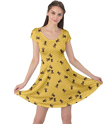 CowCow Yellow Pattern of The Bee on Honeycombs Cap Sleeve Dress, Yellow-M