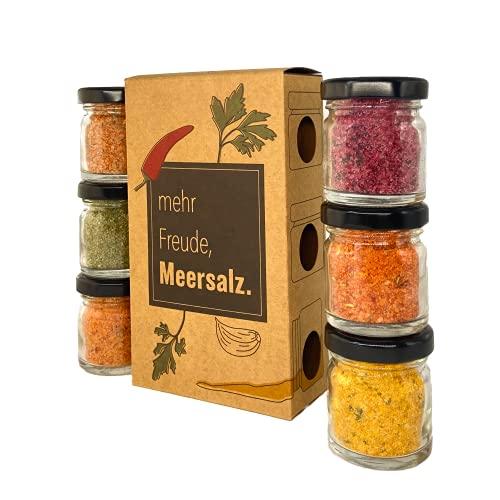 Salz Gewürze Geschenkset, Gewürzsalz mit 6x40gr Glässchen (240g) als Probierset, Meersalz Salzset aus Spanien als ideales Geschenk
