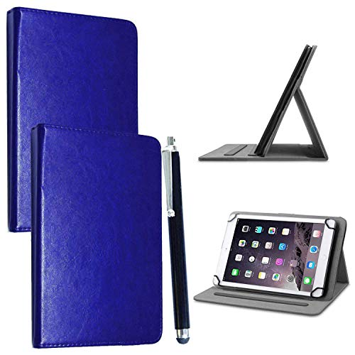 10inch Tablet Case Cover - Universal Leather Stand Case Folio Cover Magic Leather 360° Rotating Case Fits for ALL 10' Inch & 10.1' Inch Android Tablets tab + Stylus Pen (BLUE CASE COVER)