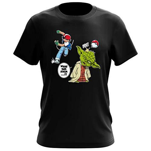 T-Shirt Jeux Vidéo - Parodie Yoda de Star Wars et Sacha de Pokemon - What the...!? - T-shirt Homme Noir - Haute Qualité (711) - Medium