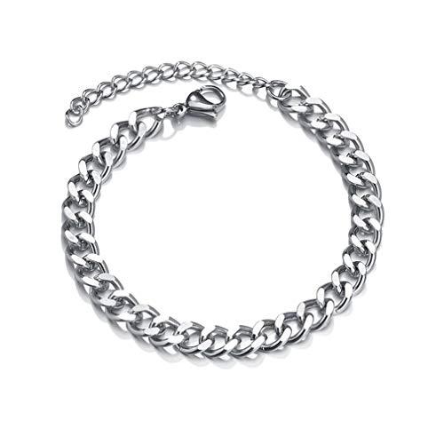 SeniorMar-UK Vintage Armband Für Männer Frauen Gliederkette Edelstahl Armbänder Doppel Panzerketten Modeschmuck Für Männer Splitter