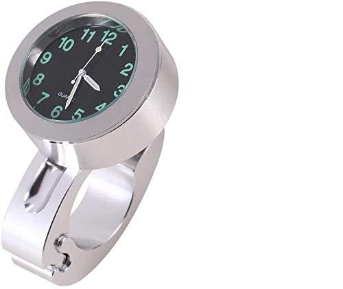 Reloj del Manillar de la Motocicleta, 1pc Reloj Plateado del Manillar del Manillar Impermeable de la Motocicleta Reloj Universal del Manillar de la Motocicleta