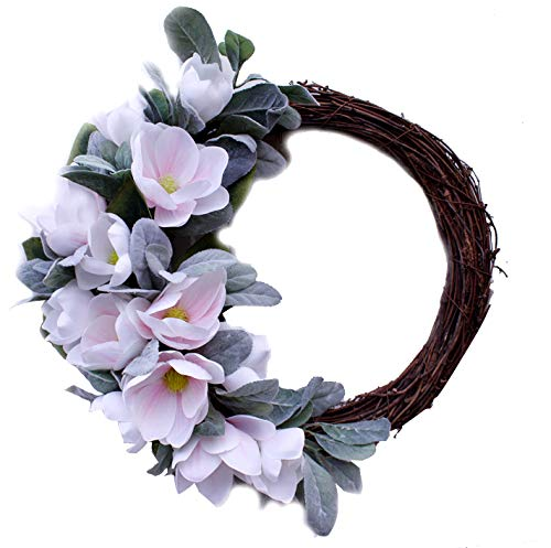 LWAN3 Artificial Magnolia Flowers Wreath, Half Coverage Simulation Rose Peony Garland For Wedding Front Door Decor