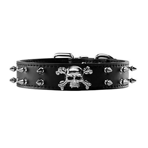 Filhome Punk Hundehalsband PU Leder Schädel Totenkopf Haustierhalsband Nieten Gotik Halsband Hund Katze Lederhalsband Schwarz S
