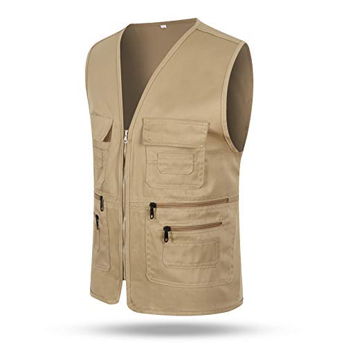 Huaheng Mannen Vrouwen Taillejas Multi-pockets Rits Losse Casual Vest voor Outdoor XL kaki