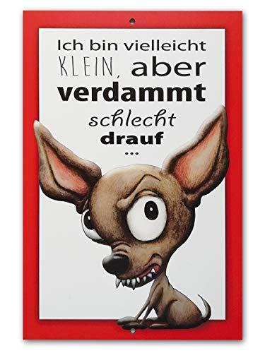 Generisch Schild Vorsicht Hund, 21cm x 31cm, mit Lochbohrung, Aluminiumplatte, UV-beständig