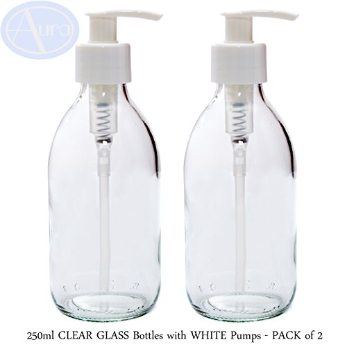250 ml helder glazen flessen met witte pompen - verpakking van 2