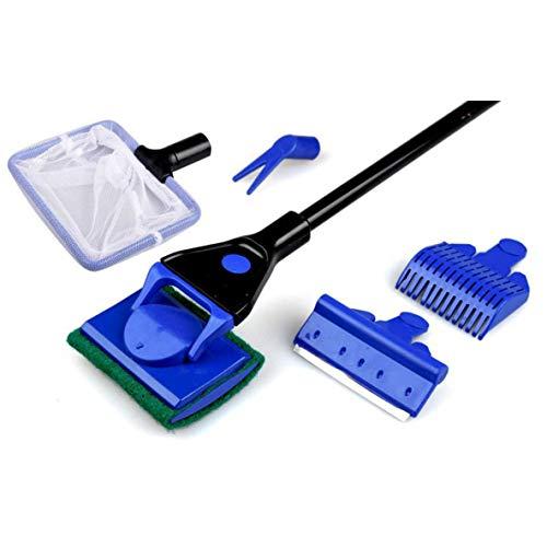 nbvmngjhjlkjlUK Aquarium Cleaner 5 In 1 Clean Set Fischnetz Kies Rechen Algenschaber Gras Gabel Schwamm Bürste Glas Aquarium Reiniger Werkzeug (blau)