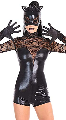 ZHANGSL Tuta Catwoman Mascherata Sexy da Donna, Costume Cosplay in Vernice Sexy, Discoteca Combinaison Latex De Ladies