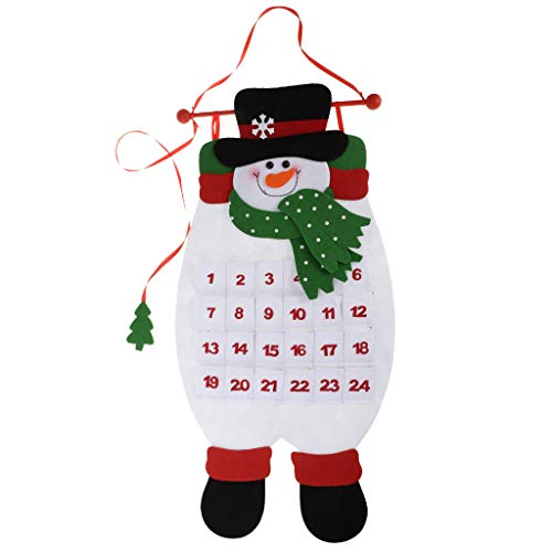 SM SunniMix Weihnachtskalender Adventskalender Weihnachtsbaumschmuck Ornament für Haus Büro Schule usw. - Schneemann