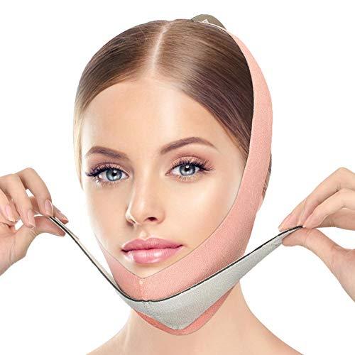 Tacohan Correa Adelgazante Facial, Adelgazante Facial Faja Vendajes Máscara con Cinturón de Ajuste Auxiliar para Mejorar la Piel Flácida, Reducir la Papada y Tensar la Piel