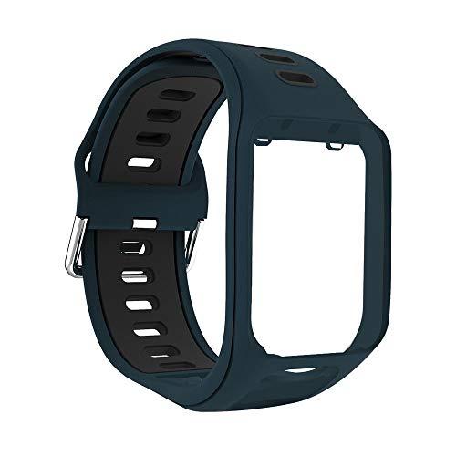 Yivibe Reloj de Silicona Reloj Correa de Pulsera Smart Watch Pulsera Reemplazo para Tomtom Spark Runner 2 3 Adventurer Golfer 2 Accesorios (Color : Rock Blue Black)