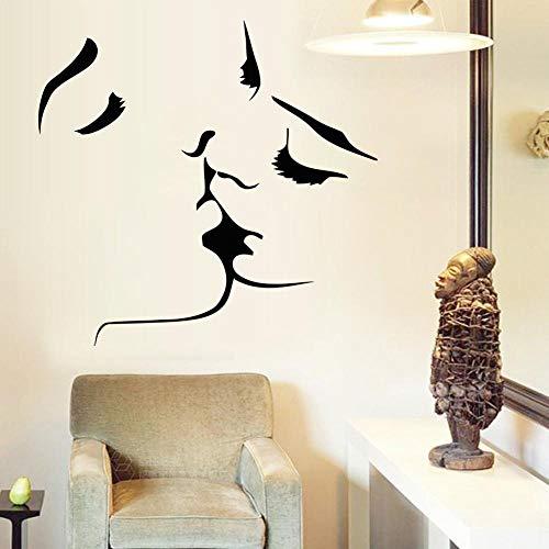 Romantische kus muurstickers, muurstickers, gepersonaliseerde woondecoratie, geschikt voor slaapkamer, woonkamer, badkamer, keuken.