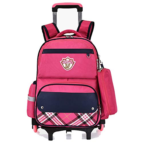 LHY EQUIPMENT Children's Wheeled Trolley Bag Flashable Wheeled Roller Backpack Multi-Function Trolley Suitcase for School Camping or Short Trips,rosered,2wheels
